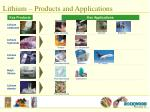 lithium products and applications