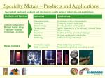 specialty metals products and applications