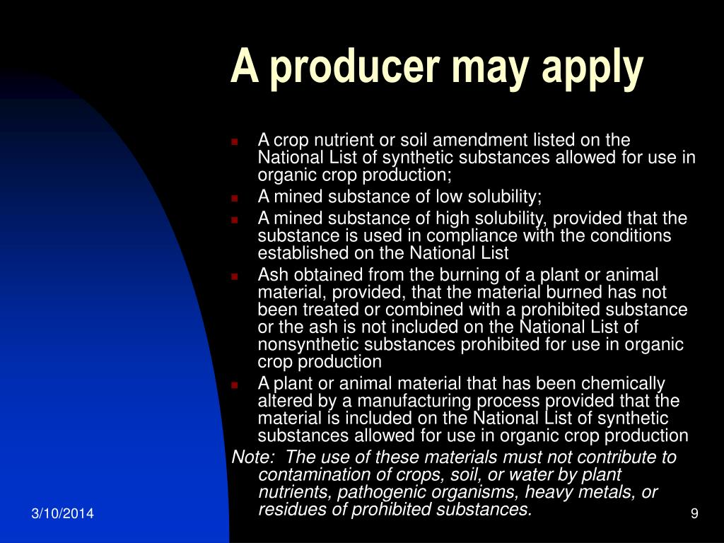 A producer may apply