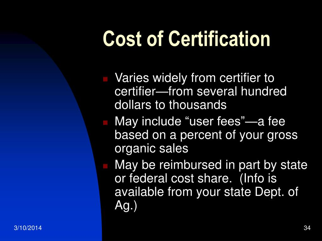 Cost of Certification