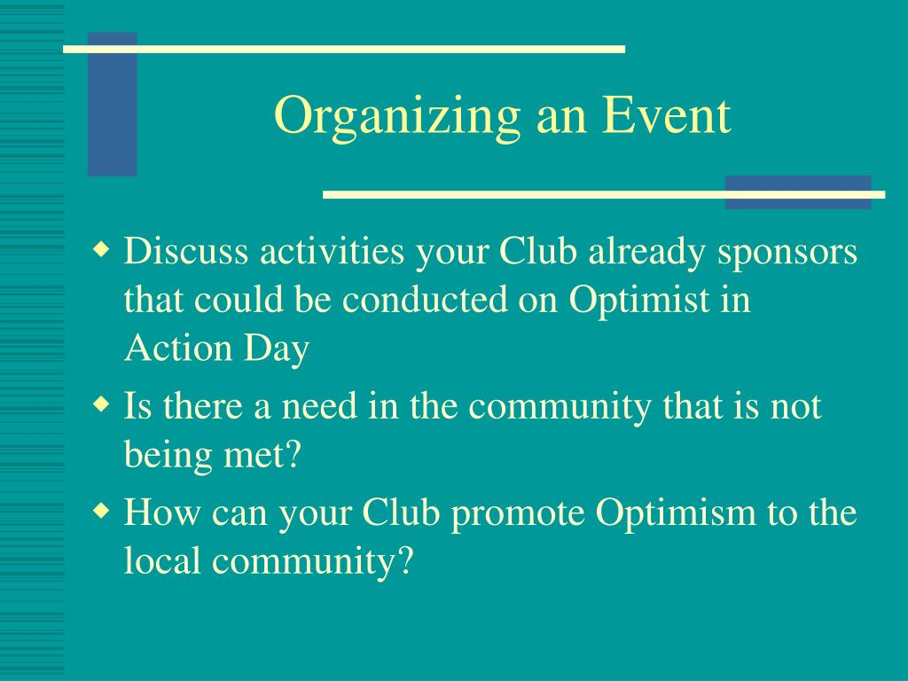 Organizing an Event