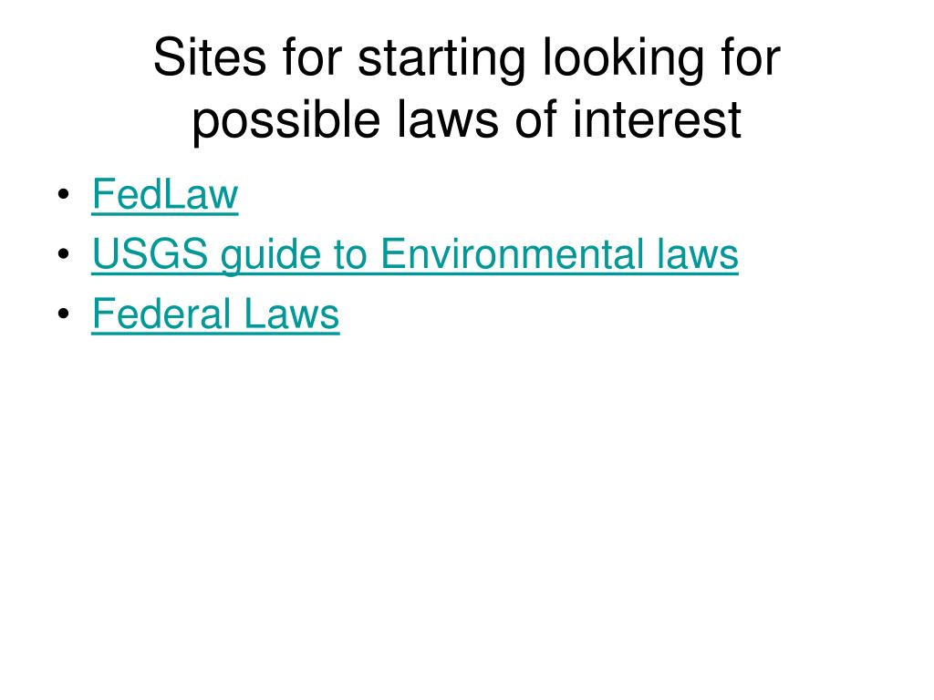 Sites for starting looking for  possible laws of interest