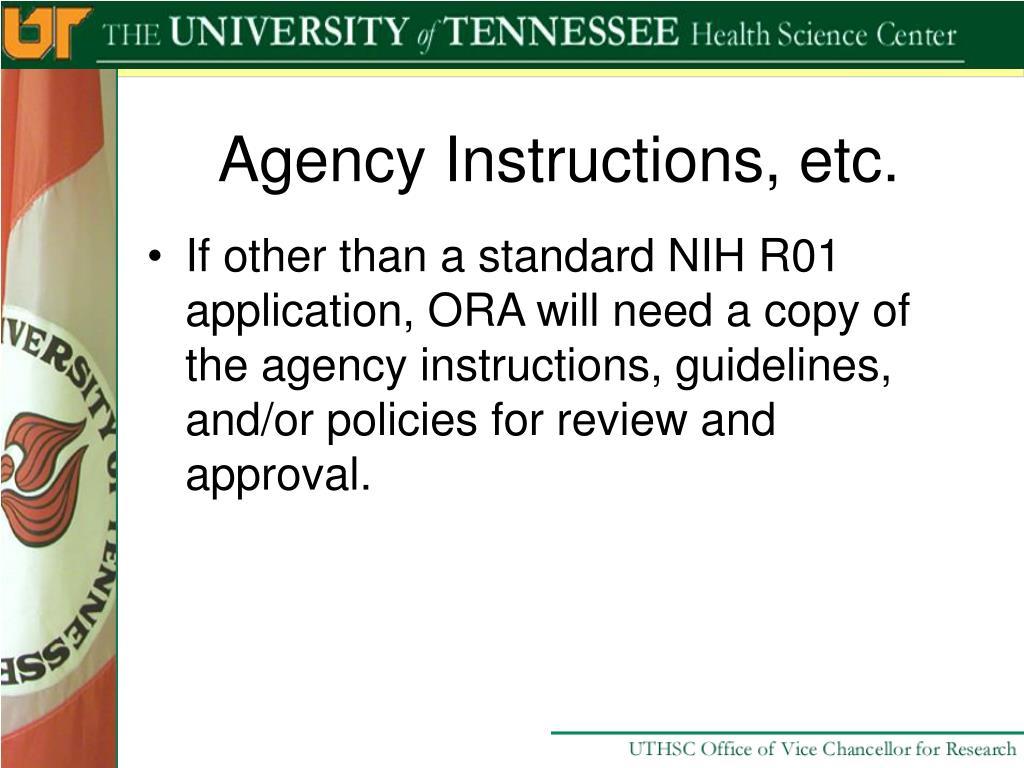 Agency Instructions, etc.