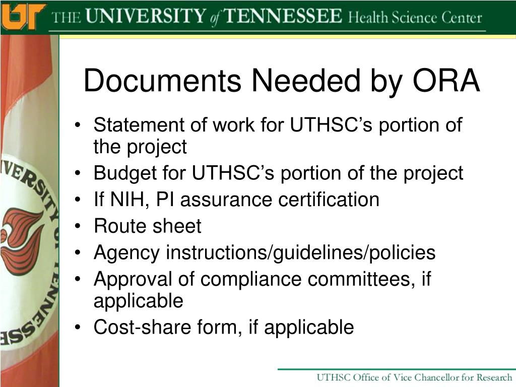 Documents Needed by ORA
