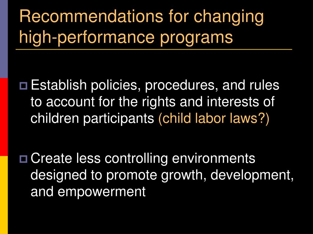 Recommendations for changing high-performance programs