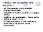 exampless of findings from initial assessment