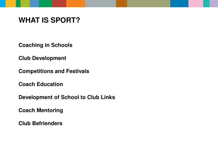 WHAT IS SPORT?