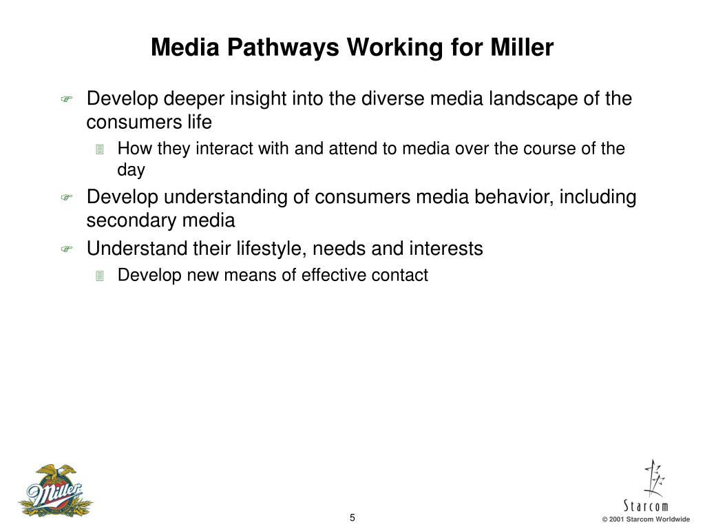 Media Pathways Working for Miller