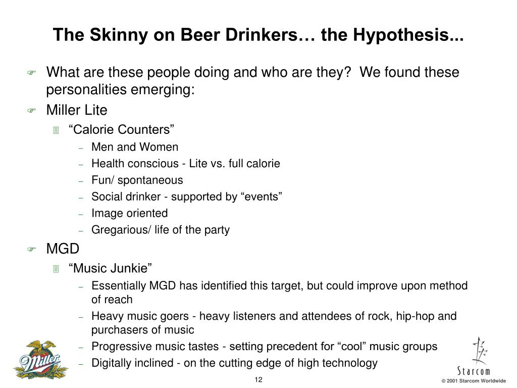 The Skinny on Beer Drinkers… the Hypothesis...