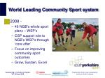 world leading community sport system