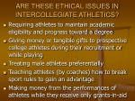 are these ethical issues in intercollegiate athletics