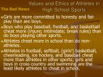 values and ethics of athletes in high school sports14