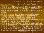 values and ethics of athletes in high school sports15