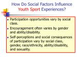 how do social factors influence youth sport experiences