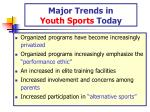 major trends in youth sports today