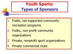 youth sports types of sponsors