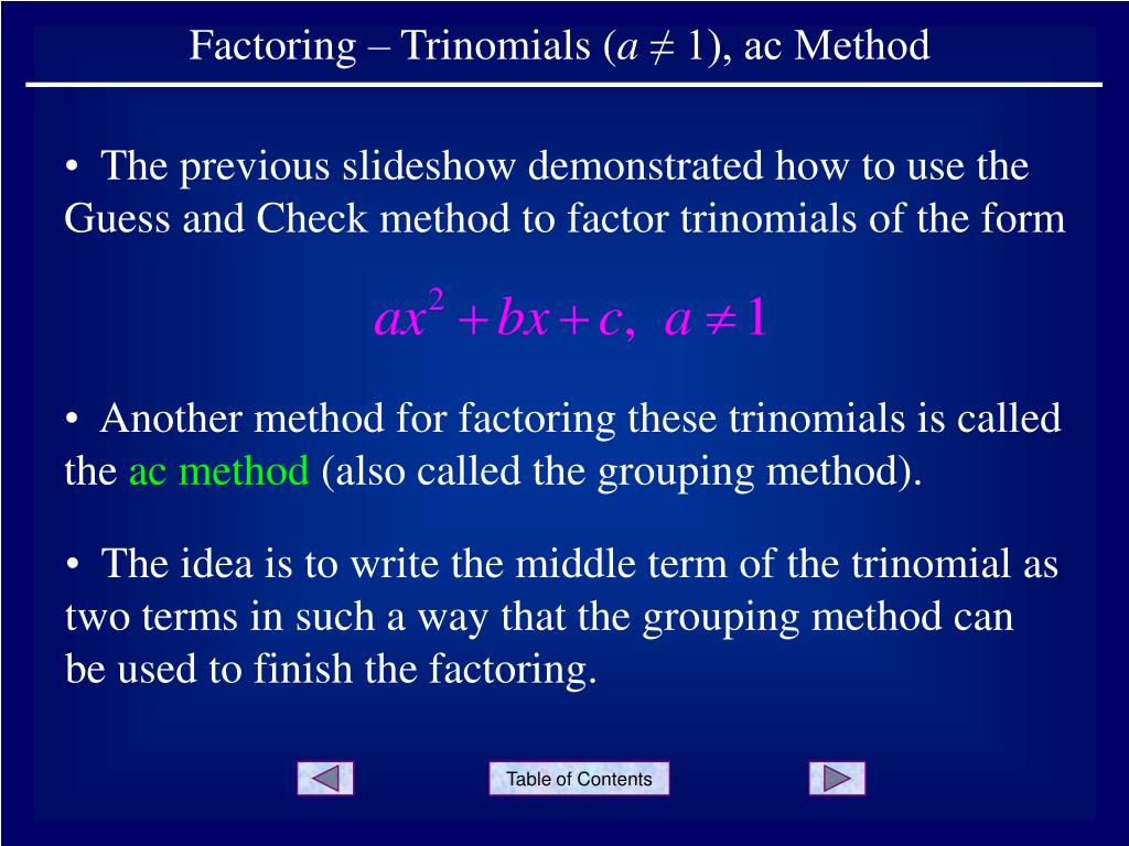 ppt factoring trinomials a 1 ac method powerpoint