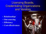 licensing boards credentialing organizations and vendors