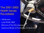 the 2001 2002 health issues roundtable