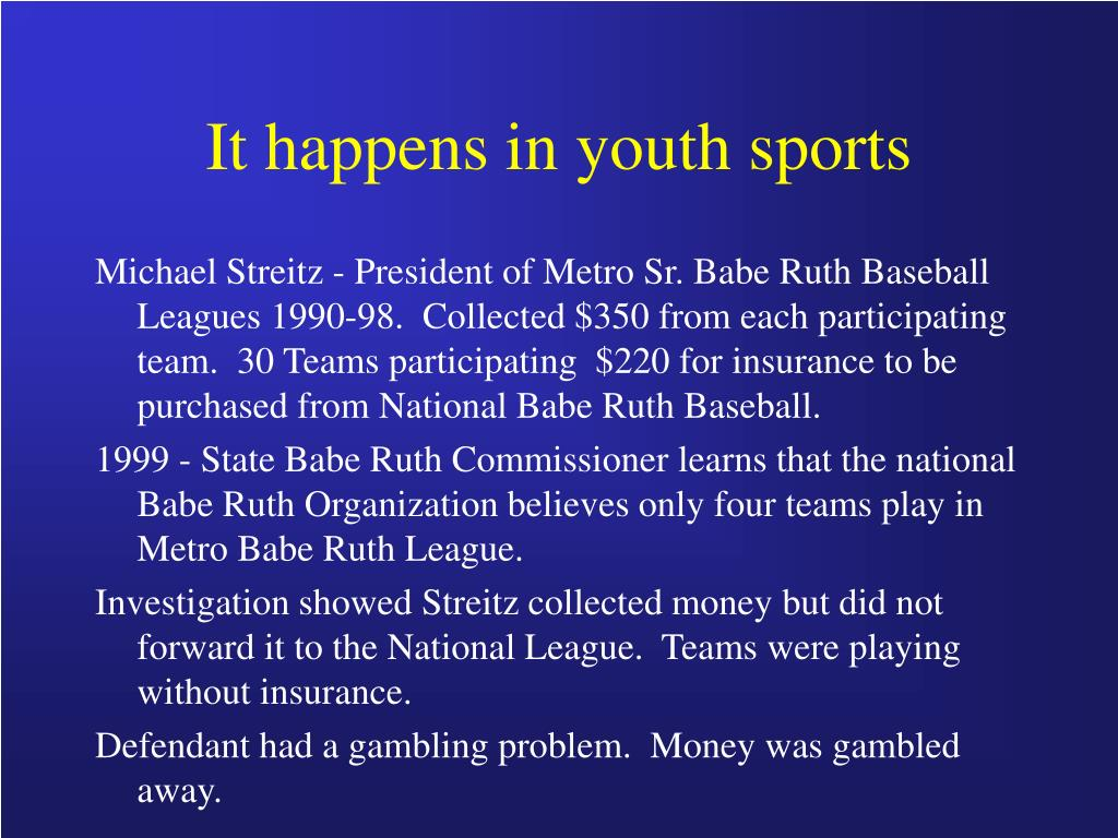 It happens in youth sports
