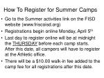 how to register for summer camps