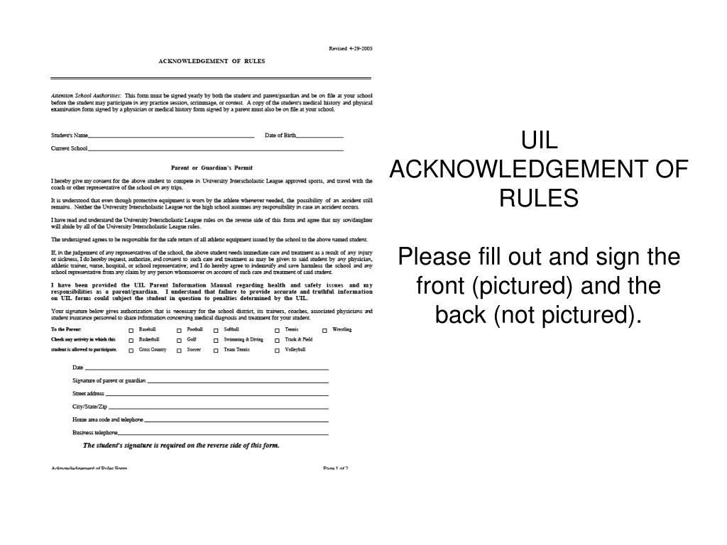 UIL ACKNOWLEDGEMENT OF RULES