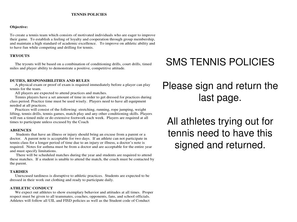 SMS TENNIS POLICIES