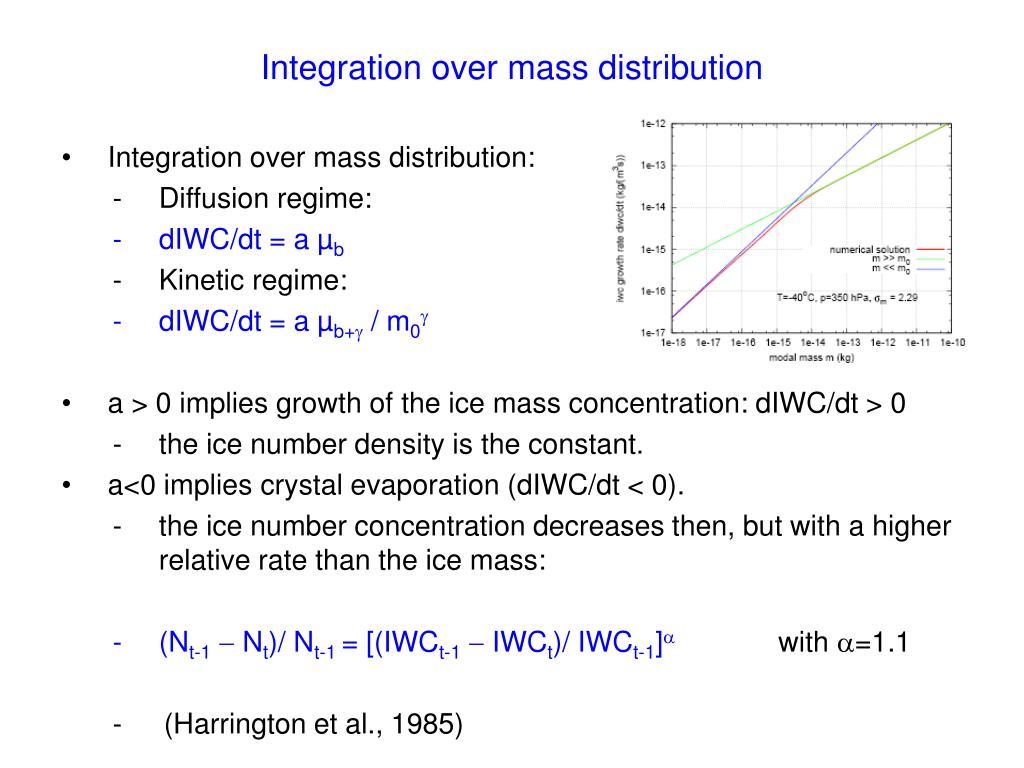 Integration over mass distribution