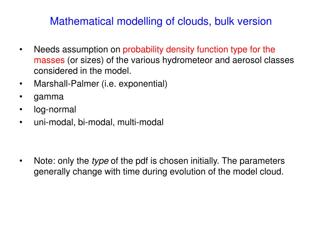Mathematical modelling of clouds, bulk version