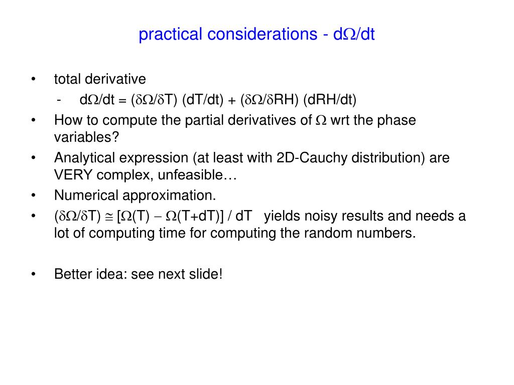practical considerations - d