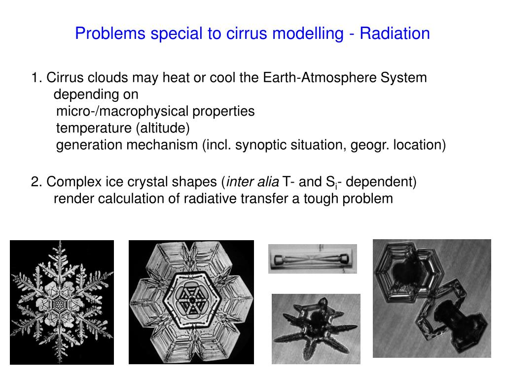 Problems special to cirrus modelling - Radiation
