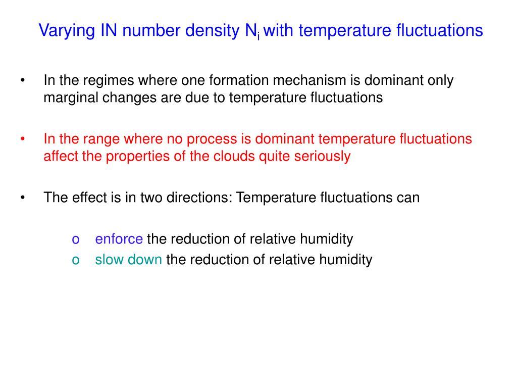 Varying IN number density N