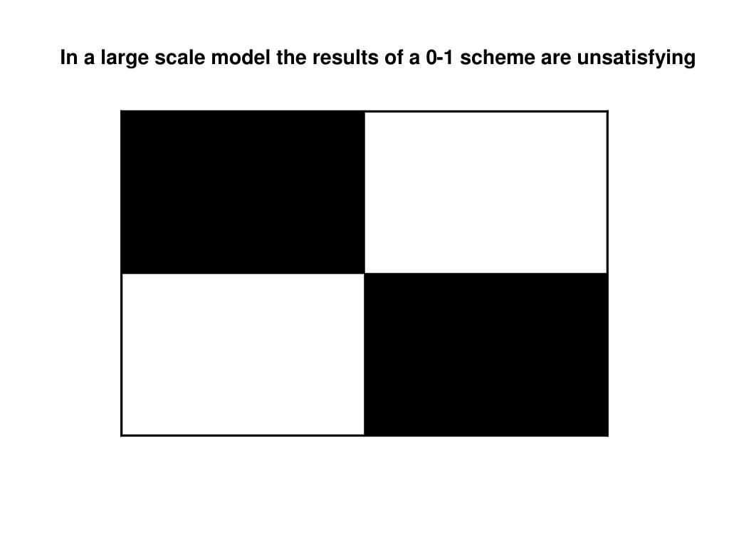 In a large scale model the results of a 0-1 scheme are unsatisfying