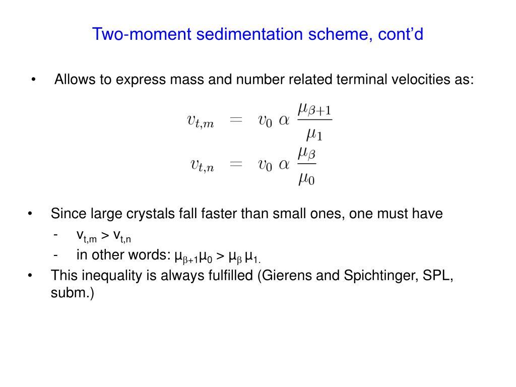 Two-moment sedimentation scheme, cont'd