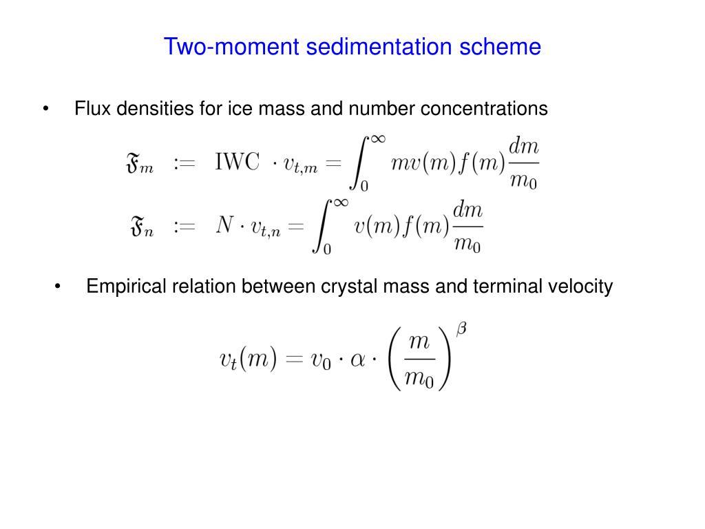 Two-moment sedimentation scheme