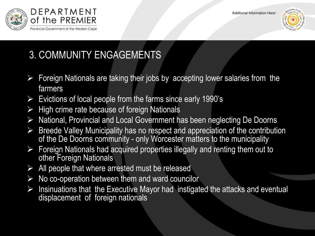 3. COMMUNITY ENGAGEMENTS