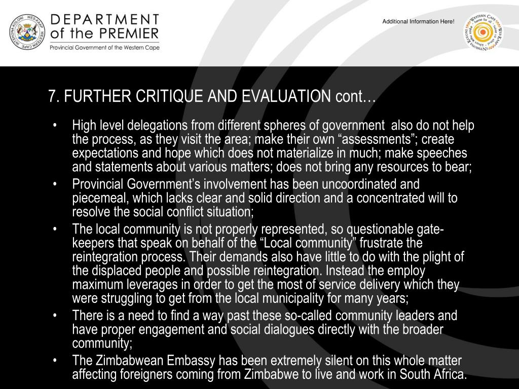 7. FURTHER CRITIQUE AND EVALUATION cont…