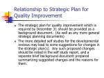 relationship to strategic plan for quality improvement
