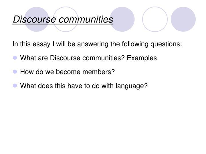 Discourse communities