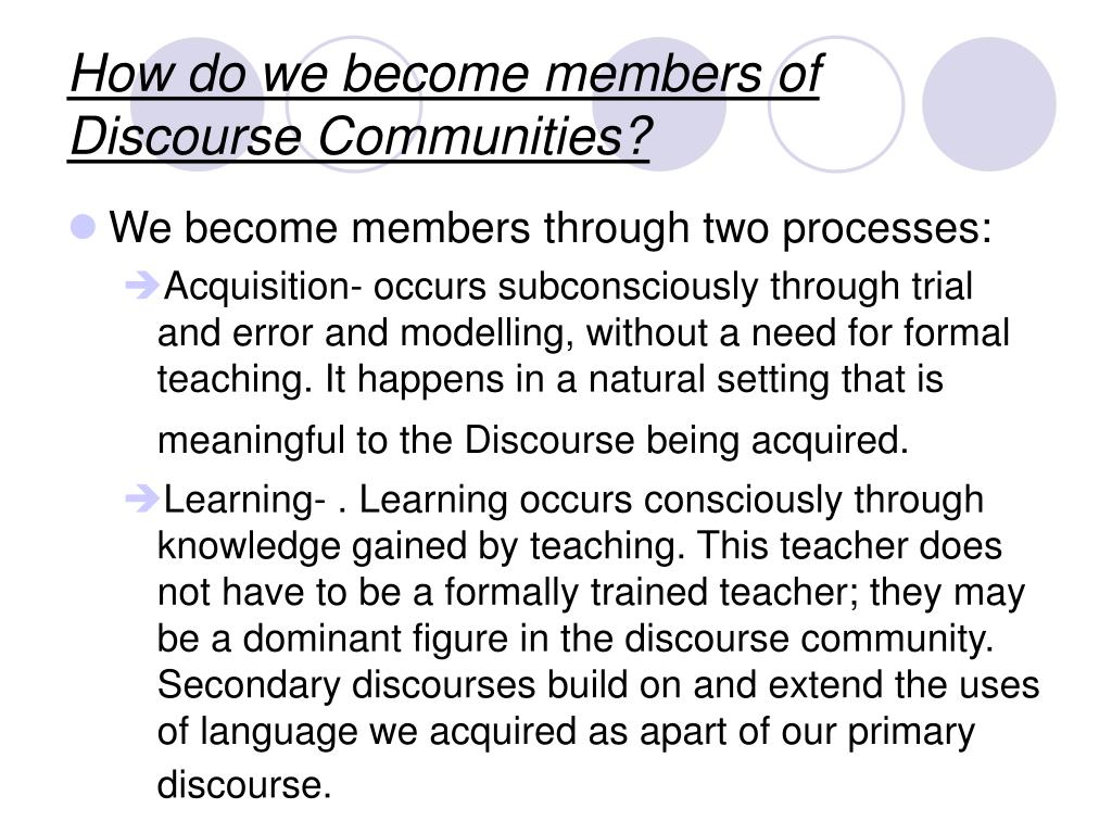 How do we become members of Discourse Communities?