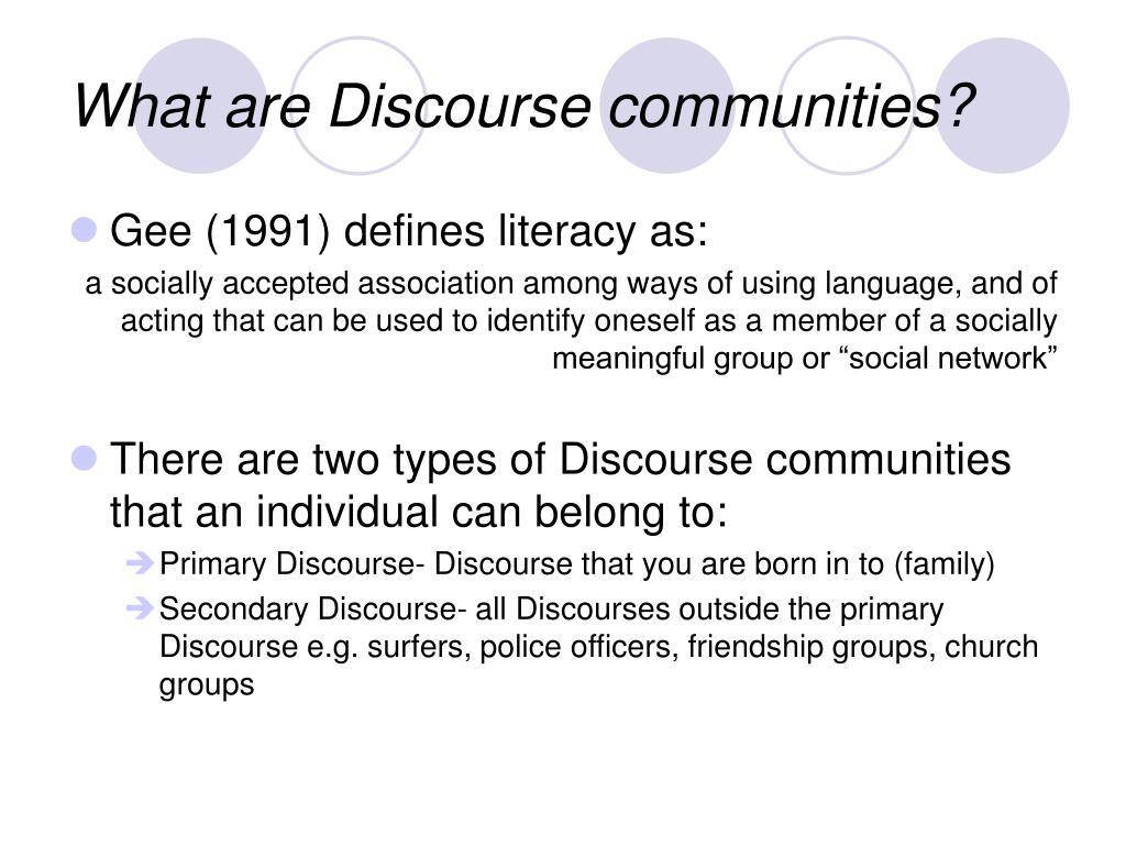 What are Discourse communities?
