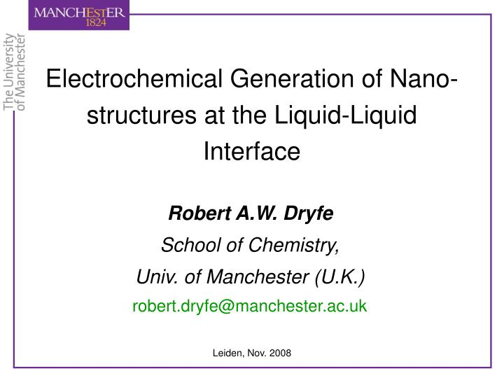 electrochemical generation of nano structures at the liquid liquid interface n.