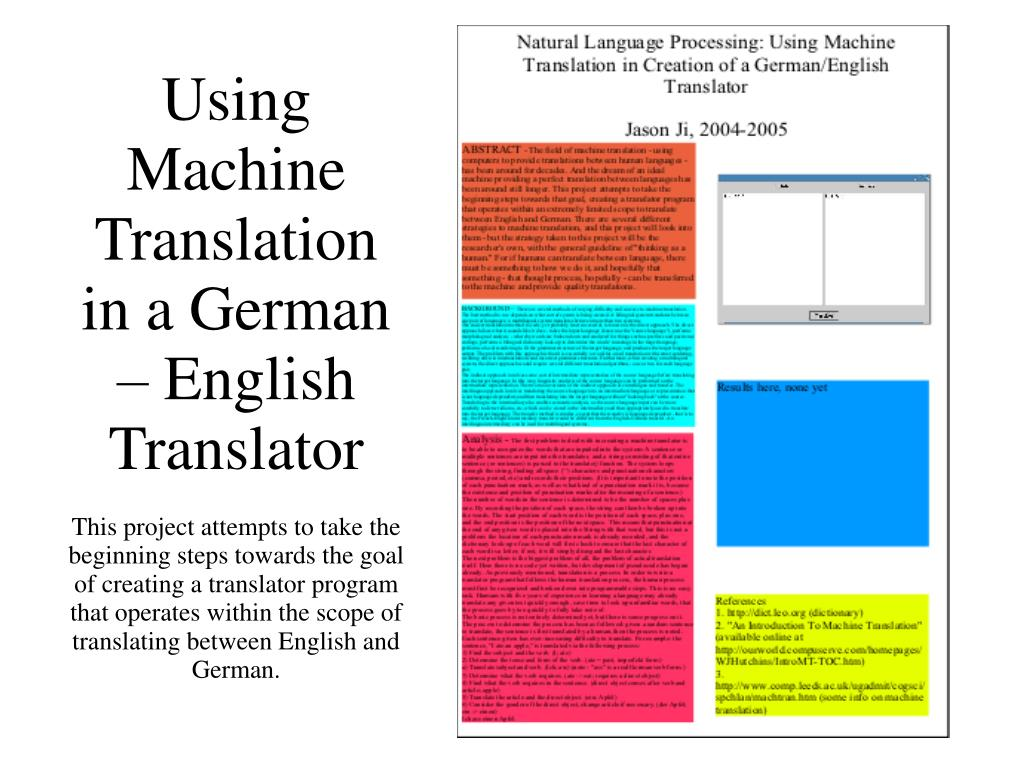 Using Machine Translation in a German – English Translator