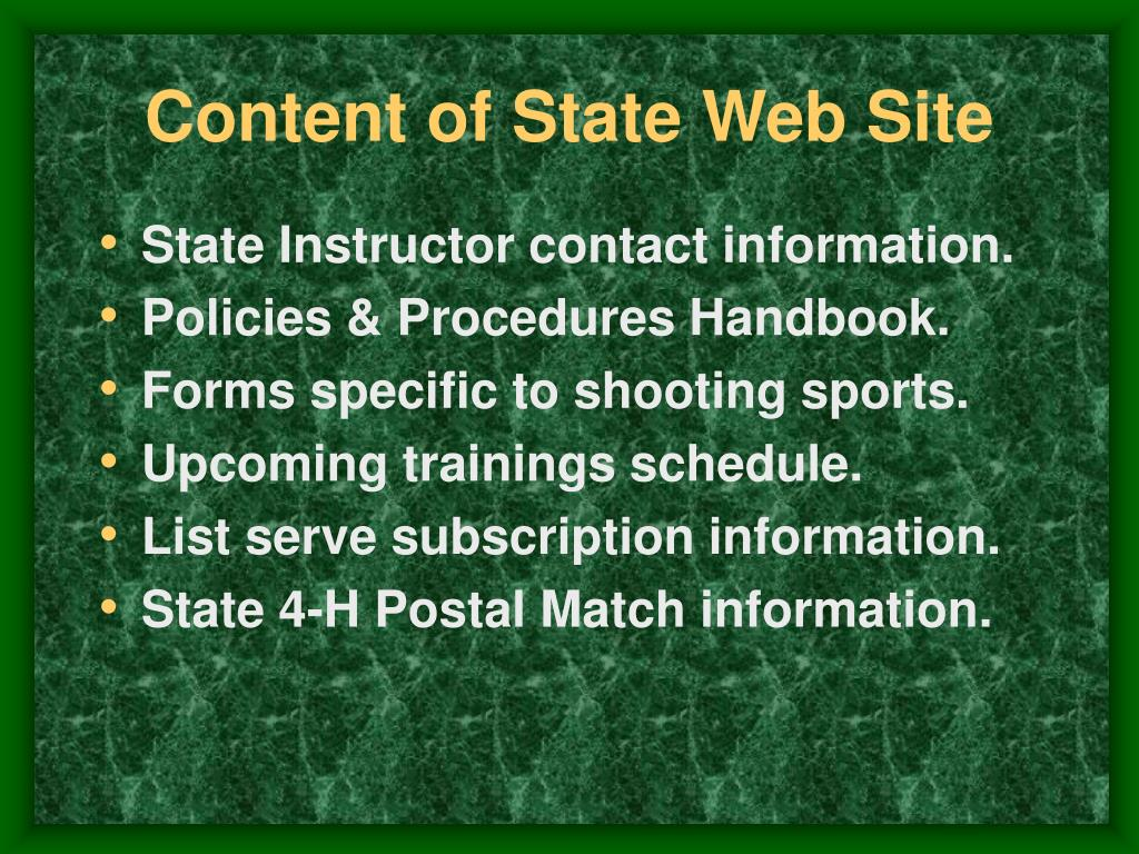 Content of State Web Site