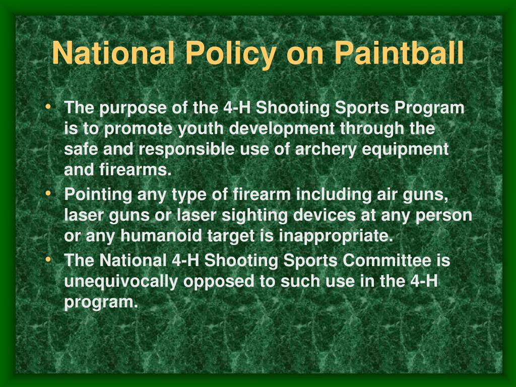 National Policy on Paintball