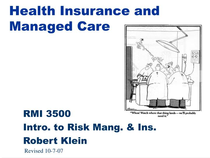 health insurance and managed care n.