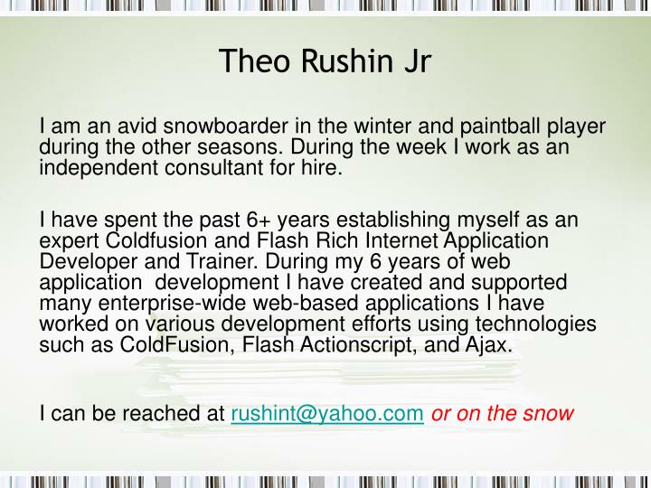 Theo rushin jr