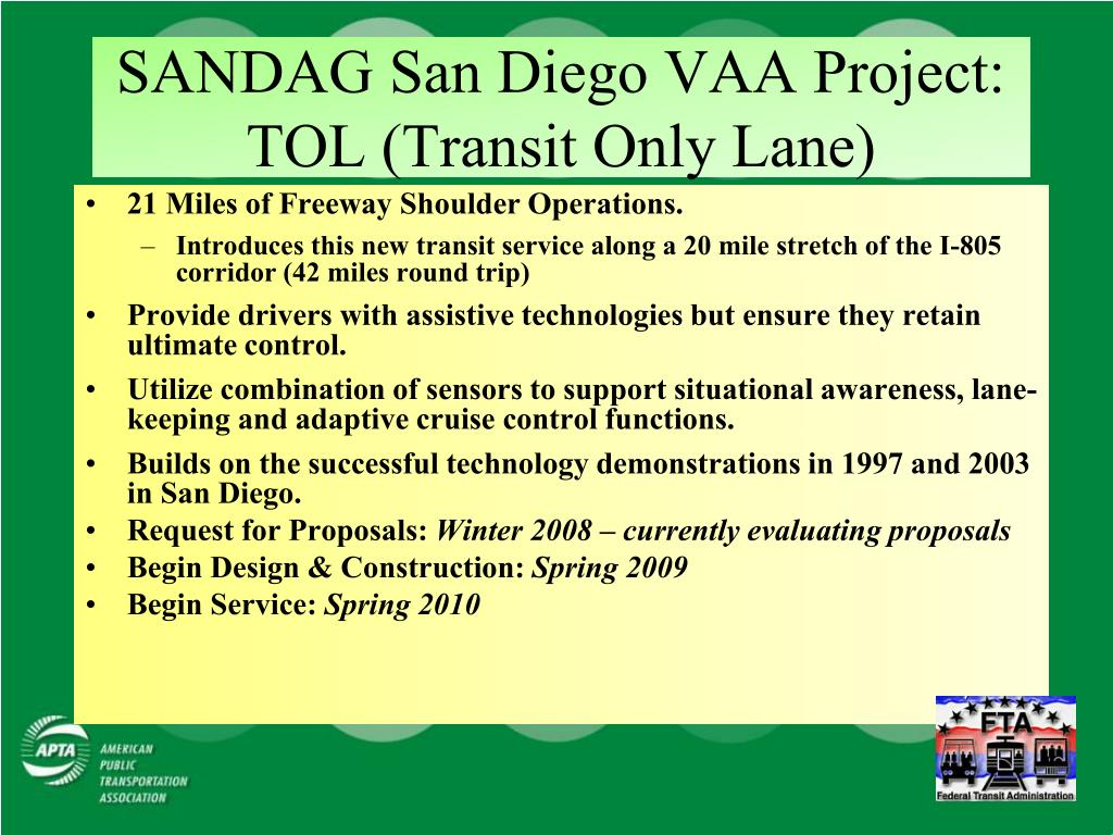 SANDAG San Diego VAA Project: TOL (Transit Only Lane)