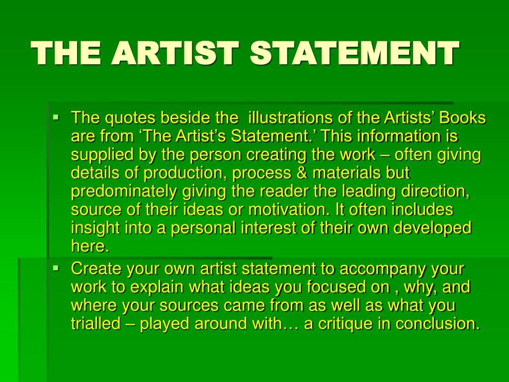 THE ARTIST STATEMENT