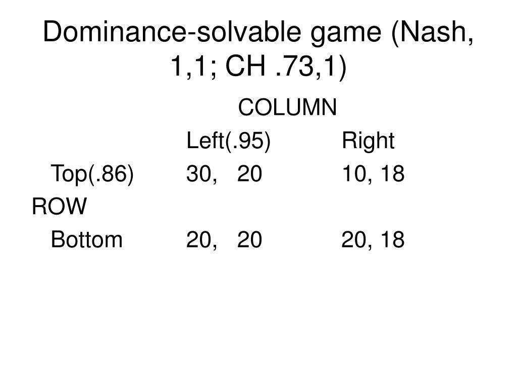 Dominance-solvable game (Nash, 1,1; CH .73,1)